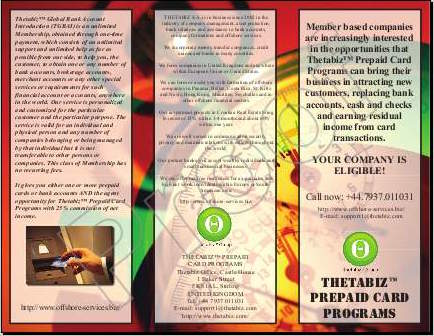 Letak za Thetabiz™ Prepaid Card Programs